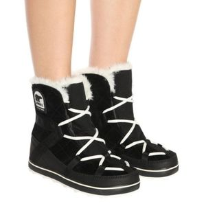 Sorel Glacy Explorer Shortie Suede Black Ankle Boots Size EU39.
